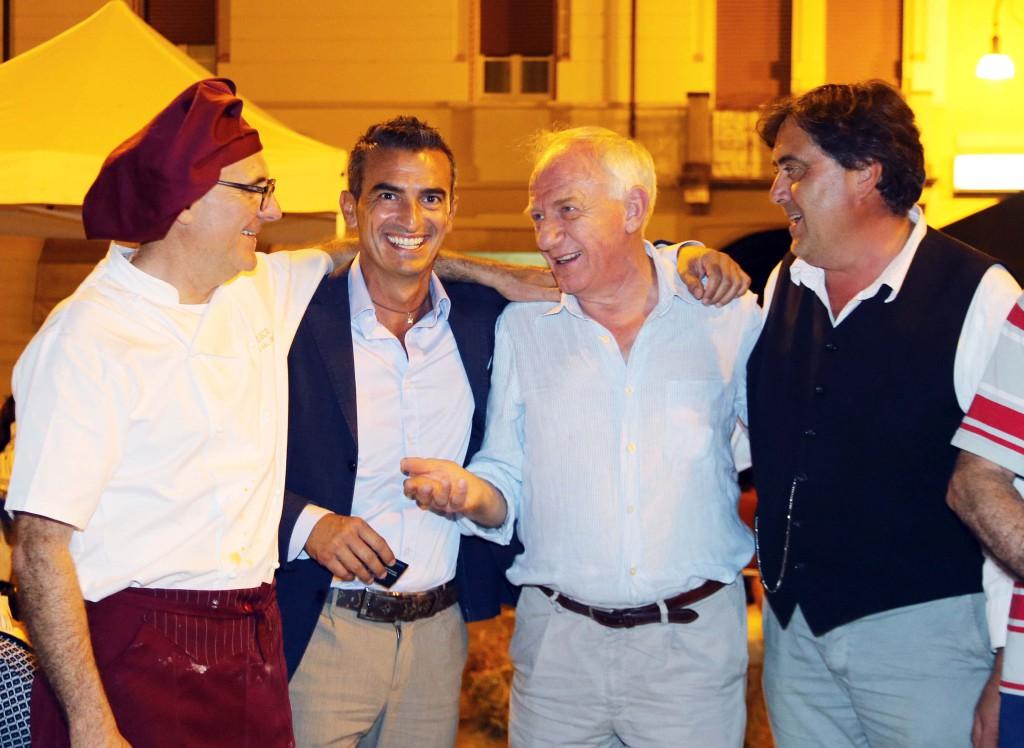 Cena benefica da sinistra Paolo Nume, Simone Castellini, Sandro Rossi, Luigi Fornasari