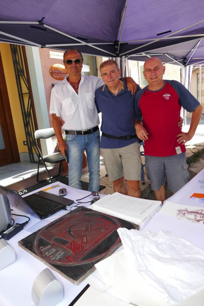 Fiera delle arti e dei mestieri - il tipografo - Dario, Marco e Alberto colleghi di lavoro